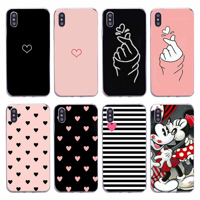 For iPhone 7 Case Love Heart For iPhone on 6 6s 8 Plus 5s SE XR XS Max Phone Case Cute Animal Soft TPU Silicon Back Cover