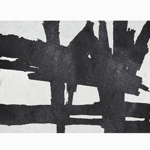Hand Painted Extra Large Abstract Painting Horizontal Acrylic Wall Art Black White Original