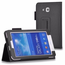 Hot sale Lichee Flip Stand pu leather Case Cover for samsung Galaxy Tab 3 lite T110