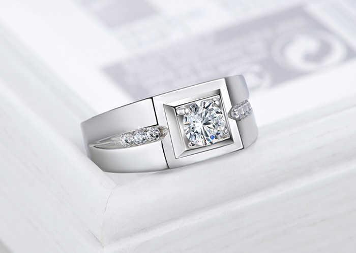 YINHED 100% מוצק 925 טבעת כסף 1 קראט מעוקב זירקון CZ האירוסין ZR307 תכשיטי טבעת נישואים טבעות לגברים