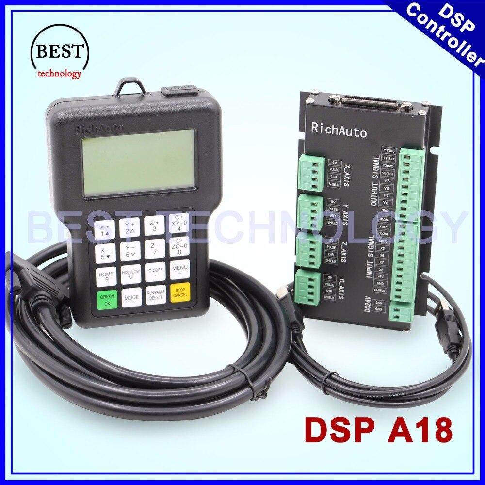 Livraison Gratuite! RichAuto DSP A18 contrôleur 4 axes D'origine A18 Version Anglaise Utilisé pour la machine de routeur de commande numérique par ordinateur