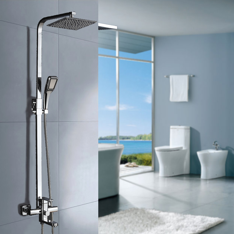 Foyi Chrome Finished Wall Mount 12 Big Rain Shower Set Mixer Faucet Bathroom Adjust Height Handheld Bathtub Tap