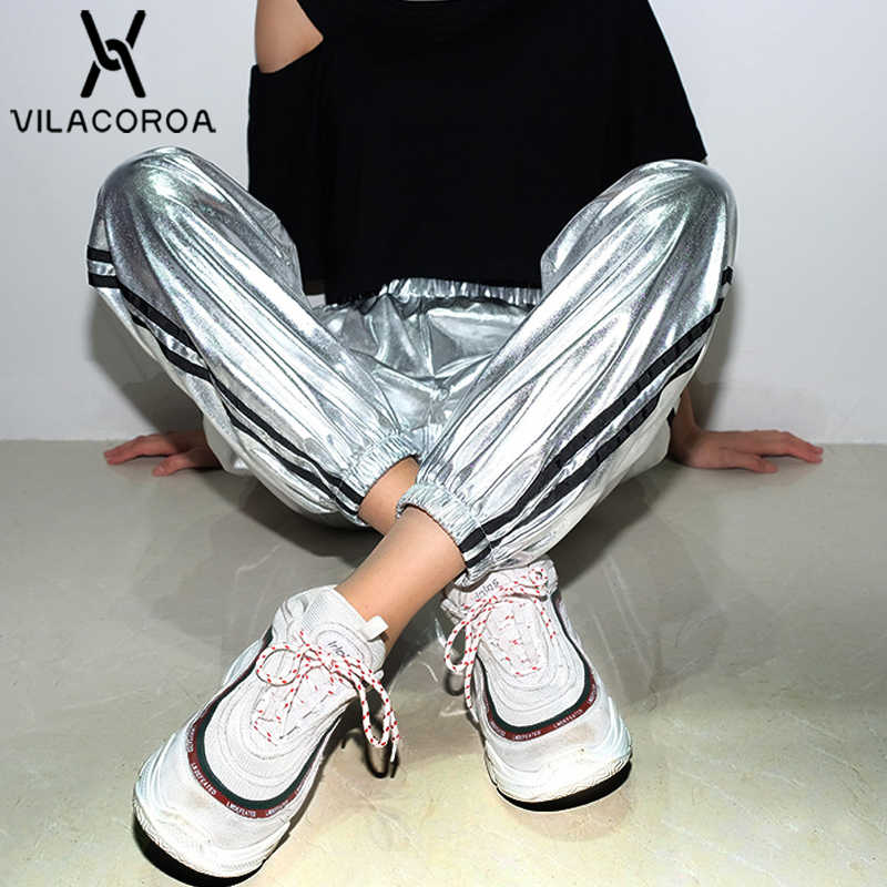 Fashion Casual Metallic Stitching High Waist Harlan Pants For Women Modis Ribbon Leather Women's Pants Streetwear pantalon femme