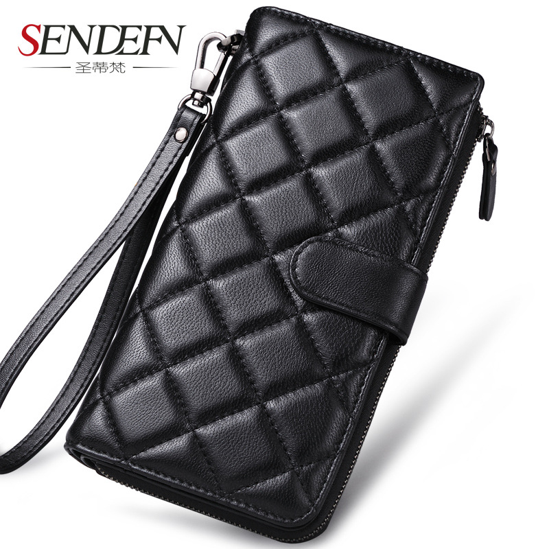 Sendefn Fashion Women Genuine Leather Sheepskin Long Wallet Plaid Clutch Wallets Female Card Holder Zipper Ladies Purse hot sale women wallets fashion genuine leather women wallet knitting zipper women s wallet long women clutch purse