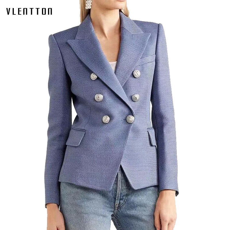 Spring Autumn 2019 New Women Blazer Casual  Double Breasted Pocket Women Jackets Office Elegant Long Sleeve Ladies Blazer Women