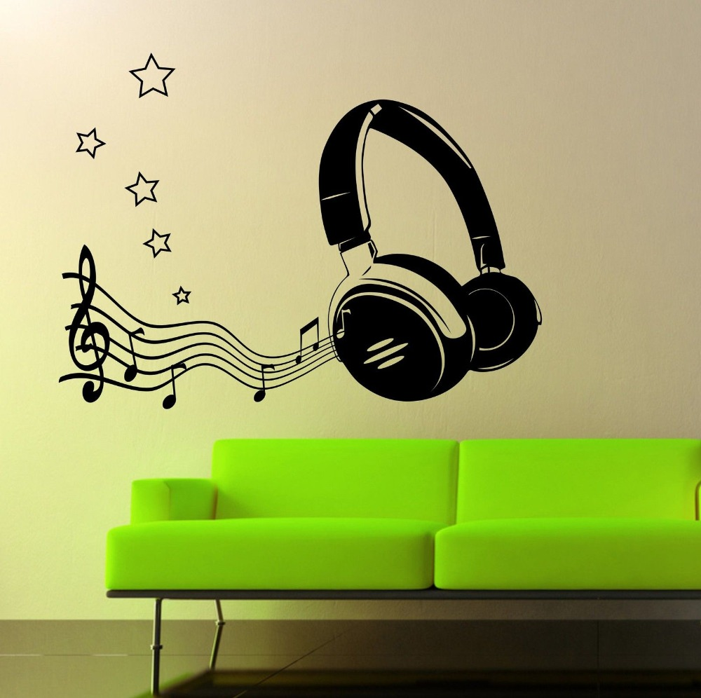Music fashion headphone free shipping vinyl wall stickers mural art ...