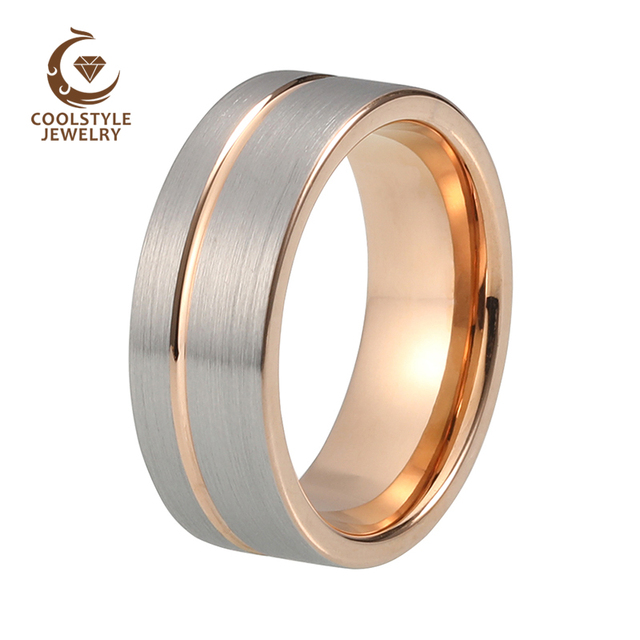 Coolstyle Jewelry Tungsten Carbide Wedding Ring 8mm Rose Gold Offset Line Flat Pipe Cut Brushed Silver