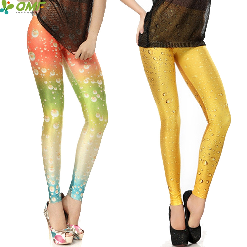 Yellow Beer Print Sports Yoga Leggings Punk Women Gym