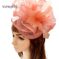 Elegant ladies party fascinators fedora hat feather flower race chapeau headbands events hair accessory cocktail headwear MYQ109