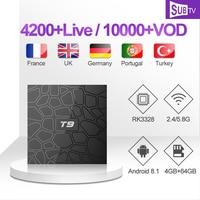 IP TV T9 1 Year SUBTV IPTV Code French Arabic IPTV Subscription RK3328 4G 64G Smart Set Top Box Italian Portuguese Spanish IPTV
