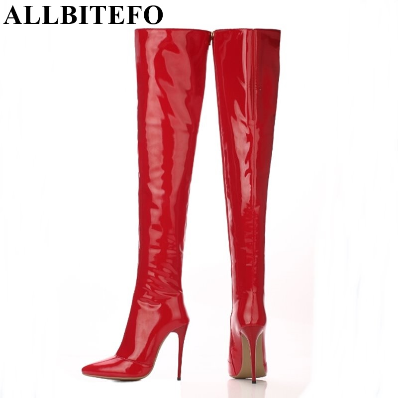 ALLBITEFO size:33-43 genuine leather+pu pointed toe Elastic boots tube winter snow boots supper high heels thigh high boots allbitefo golden zip decorate fashion spring winter snow shoes genuine leather pu women boots casual knee high boots size 33 43