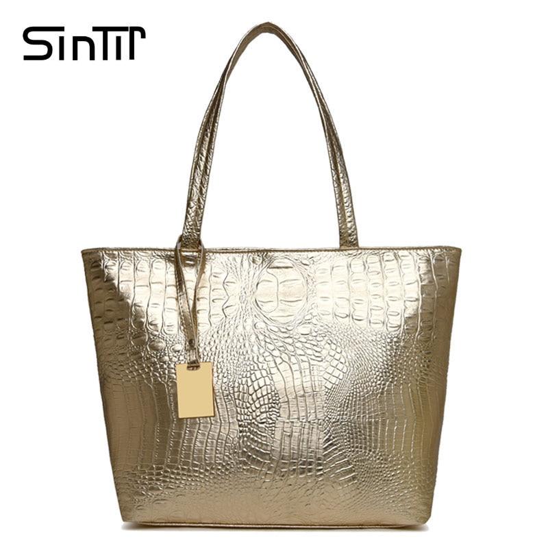 SINTIR Famous Brand Casual Big Alligator Women Handbag Leather Large Capacity Silver Gold Black Ladies Shoulder Bag Sac a Main