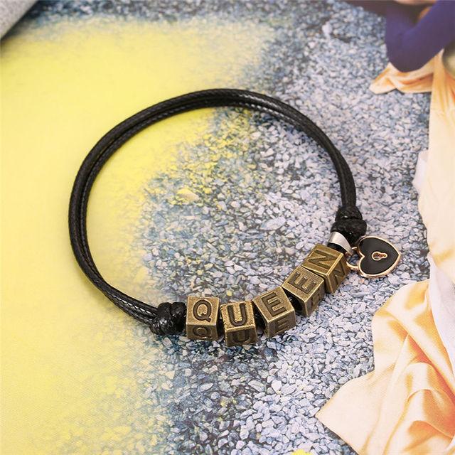 2 PCs/Set, Vintage Letters King Queen Bracelets Fashion Creative Paired Bracelets Key and Lock Couple Bracelet Gifts for Women 2