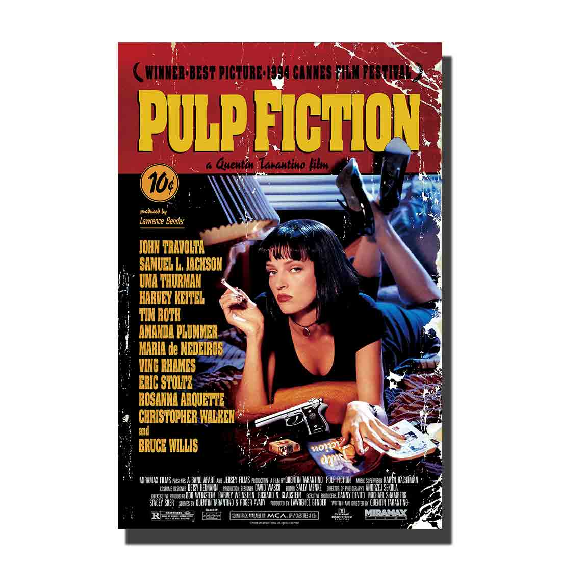 P PULP FICTION Movie Quentin Tarantino Bruce Willis Poster custom Home Wall decor 8x1212x18 24x36canvas living roomdecoration image