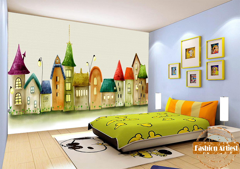 Custom kids cartoon wallpaper mural fairy tale color house - Living room cafe menu philadelphia ...