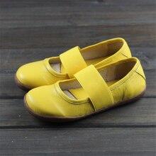 여성 정품 가죽 플랫 신발 옥스포드 캐주얼 신발 여성 플랫 스니커즈 여성 신발 신발 2020 새로운 봄 옐로우 블랙