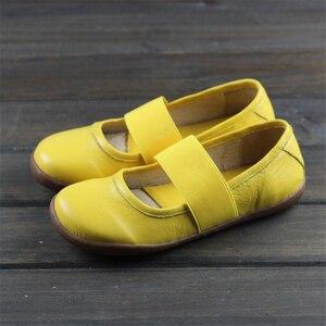 Image 1 - Zapatos planos de cuero genuino para mujer, zapatos informales oxford planos, calzado femenino, novedad primavera 2020, amarillo y negro