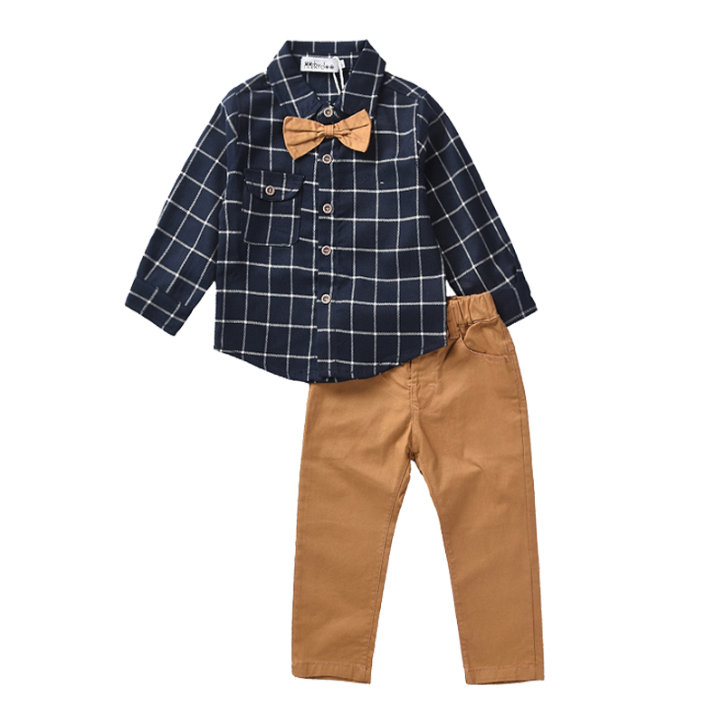 2018 New Formal Baby Boys Clothing Set for Birthday Party Kids Baby Gentleman Bow Tie Clothes Sets Children Shirt+ Pants 2PCS fashion new spring autumn baby boy clothes set vest tie plaid formal blouse shirt pants suit kids boys clothing gentleman set