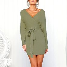 цена на Women Autumn Sweater Knitted Dress Slim Elastic Long Sleeves Sexy v neck Backless Lady lace up Bodycon Dresses