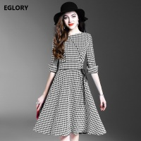 European Casual Dress New Style Fall Winter 2017 Ladies Grey Plaid Prints Cross String Waist 3
