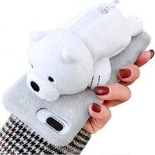 For iPhone Cute Fuzzy Furry Rabbit Hair Warm Plush Fur 3D Polar Bear and Panda Toy Doll Novelty Coin Purse Zipper Soft TPU Case недорого
