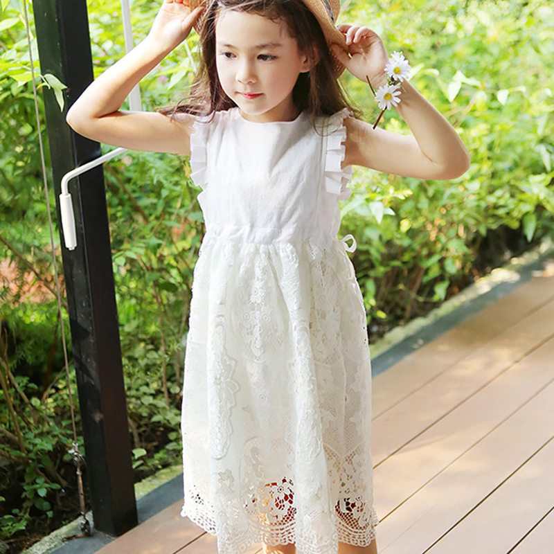 lace summer 2018 new midi long dresses for girls party white red knee length sleeveless girls princess dress kids dresses цены онлайн