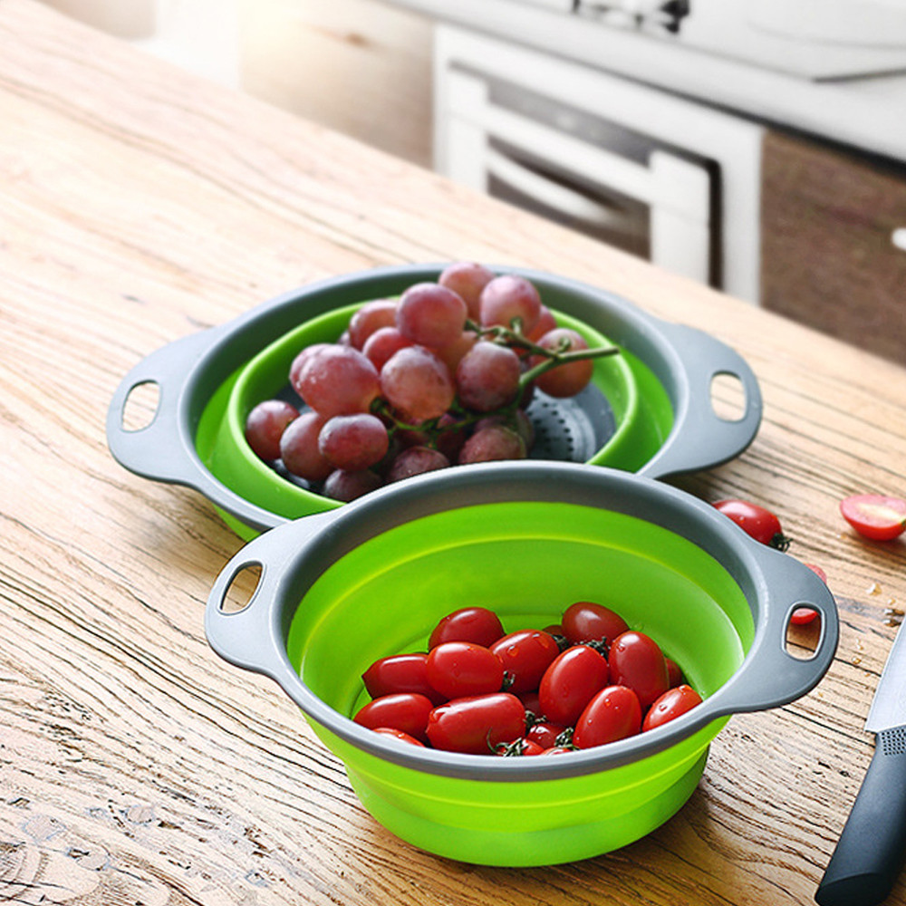 Foldable Silicone Colander  Vegetable Washing Basket Strainer Collapsible Drainer With Handle Kitchen Tools storage Fruit basket-in Storage Baskets from Home & Garden