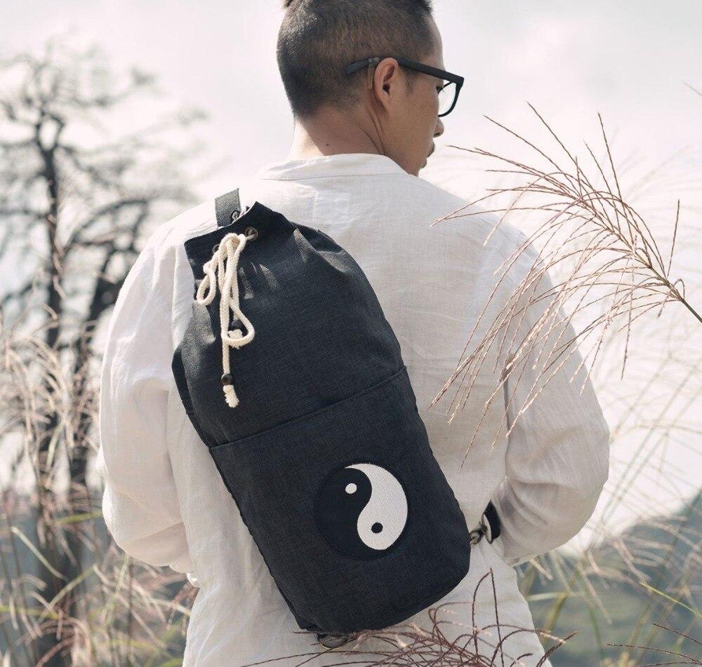 Top qualité noir shaolin Moine sac taoïste taoïsme kung fu arts martiaux sacs à dos tai chi sacs dans Arts martiaux de Sports et loisirs