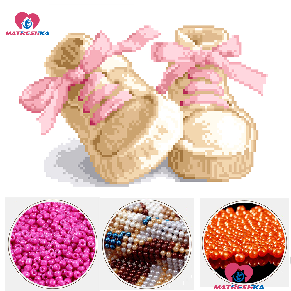 Diy 5d Beads Embroidery Baby Shoes Pattern Perles Point De Croix Needlework Accessories Pearl Cross Stitch Full Beads Embroidery