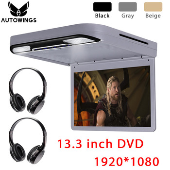 13.3 inch 1080P TFT-LCD Car Ceiling Roof Mount Monitor Car DVD Video Player Monitor Built-in Speaker FM HDMI SD 2 IR Headphones