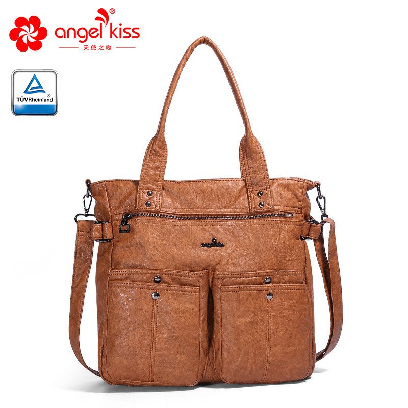Angel Kiss Fashion New Design Solid Color Handbags Casual Daily Bag Washed PU Leather Ladies Crossbody