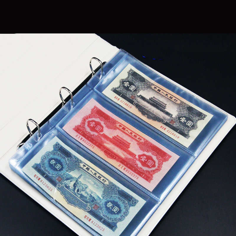 PVC Album Pages 3 Pockets Money Bill Note Currency Holder Collection 257x196mm Albums Folders 10pcs/pack