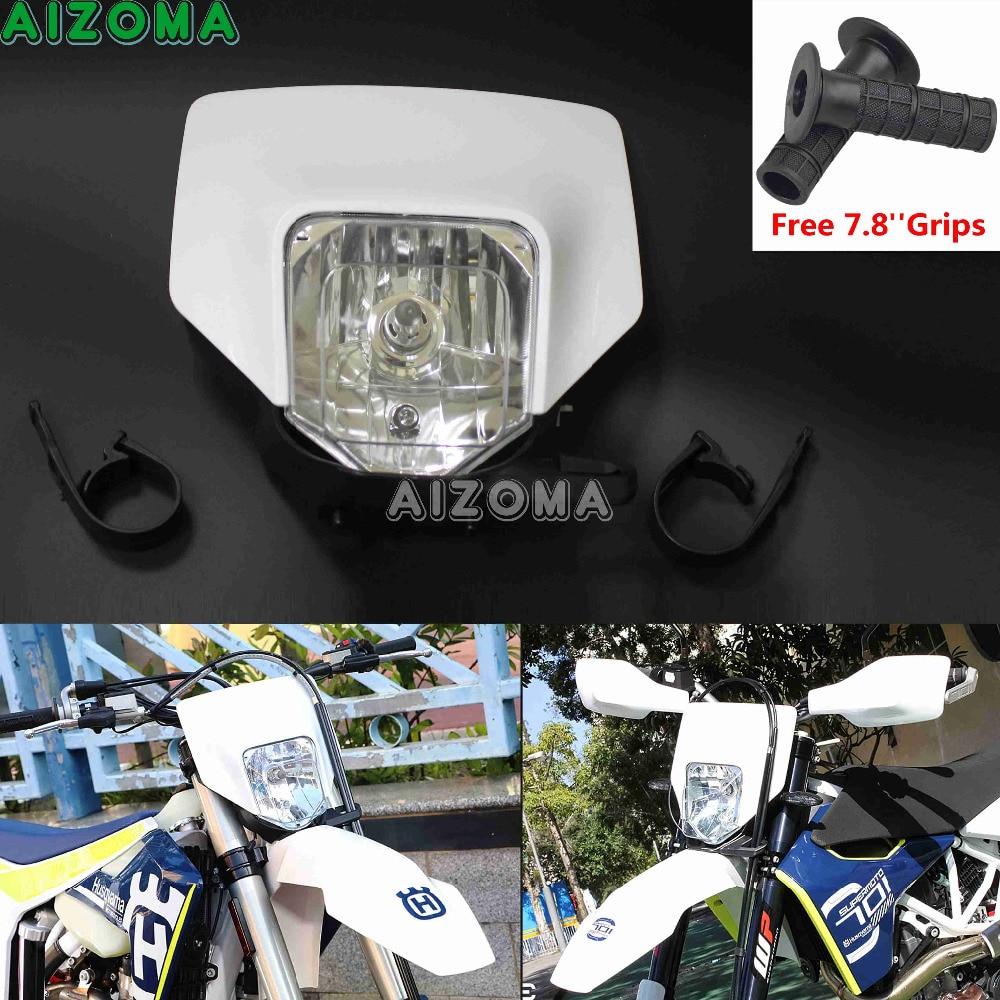 White Halo Headlight Fairing Enduro Cross 35w Head Lamp Mask For Husqvarna Fe TX TE 125 150 250 300 350 450 501 701 Supermoto