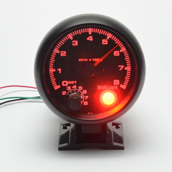 3 75inch 95 25mm Black shell red light tachometer gauge RPM car auto meter free shipping