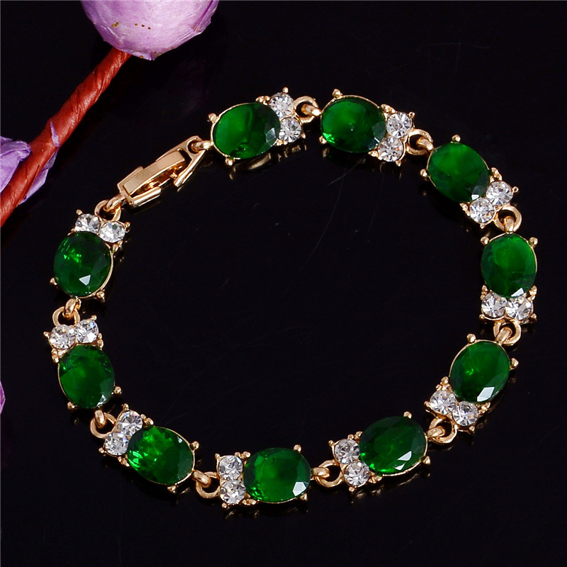 QCOOLJLY Stylish Women Beautiful Gift Party Gold Color Oval Cut Peridot Green Unique Chain Bracelets Bangles Jewelry New