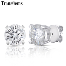 Transgems Center 9m 3ct Each Moissanite Stud Earrings 14K White Gold FG Color Excellent Cut Diamond Earring Push Back
