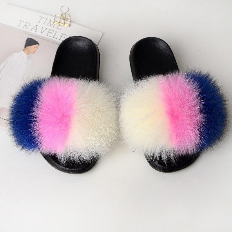 Women Slippers Home Furry Slides House Fluffy Flip Flops Woman Summer Women Shoes Real Fur Female Footwear Rubber 2019 Fashion 3