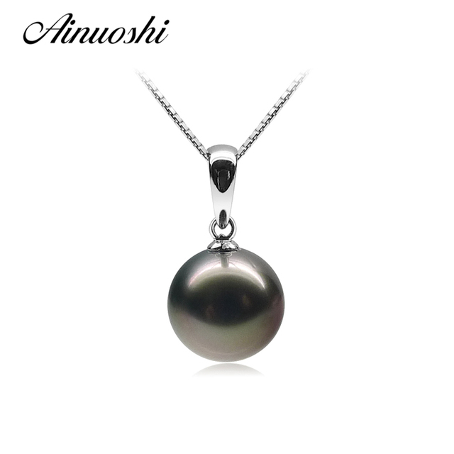 b25d9fe9a62 US $92.78 20% OFF|AINUOSHI 925 Sterling Silver Women Slide Necklace  Pendants Natural Tahitian Black Pearls 11 11.5mm Round Pearl Pendants  Jewelry-in ...