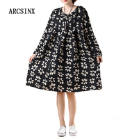 ARCSINX Oversized Women Dresses 2017 Black Print Floral Women Dress Plus Size 4XL 5XL 6XL Autumn
