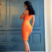2018 New Arrival Crop Top Women Sexy Two Side Hollow Out Bandage Dress Women Sexy Midi Dresses Celebrity Party Cocktail Vestido