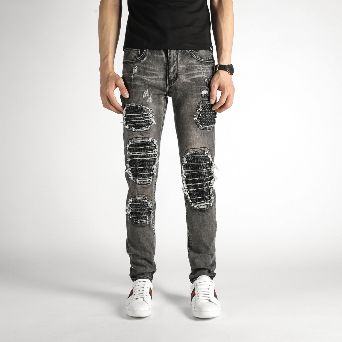 High Quality Fashion Jeans Men Distressed Slim Fit Skinny Jeans Casual Biker Jeans Men Denim Ripped Bermuda Jeans Masculina summer style men jeans blue color denim destroyed ripped jeans men high quality skinny slim fit biker jeans casual leisure pants