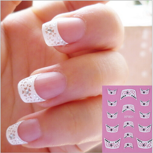 Xf801 Fashion French Style With Nice Pattern Of 3d Design Tips Nail