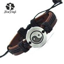 Jiayiqi Vintage Leather Bracelet New Hot Women Handmade Twine Bracelet Genuine Leather Cuff Bracelet For Women Men Jewelry