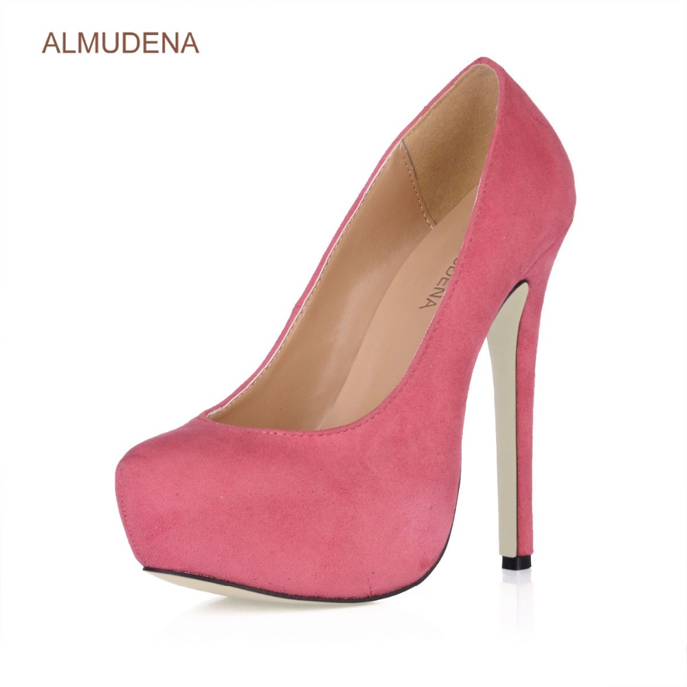 ALMUDENA New Arrival Wine Red Suede Platform Dress Pumps Thin High Heels Burgundy Blue Green Party Shoes Ultra High Heels - 6
