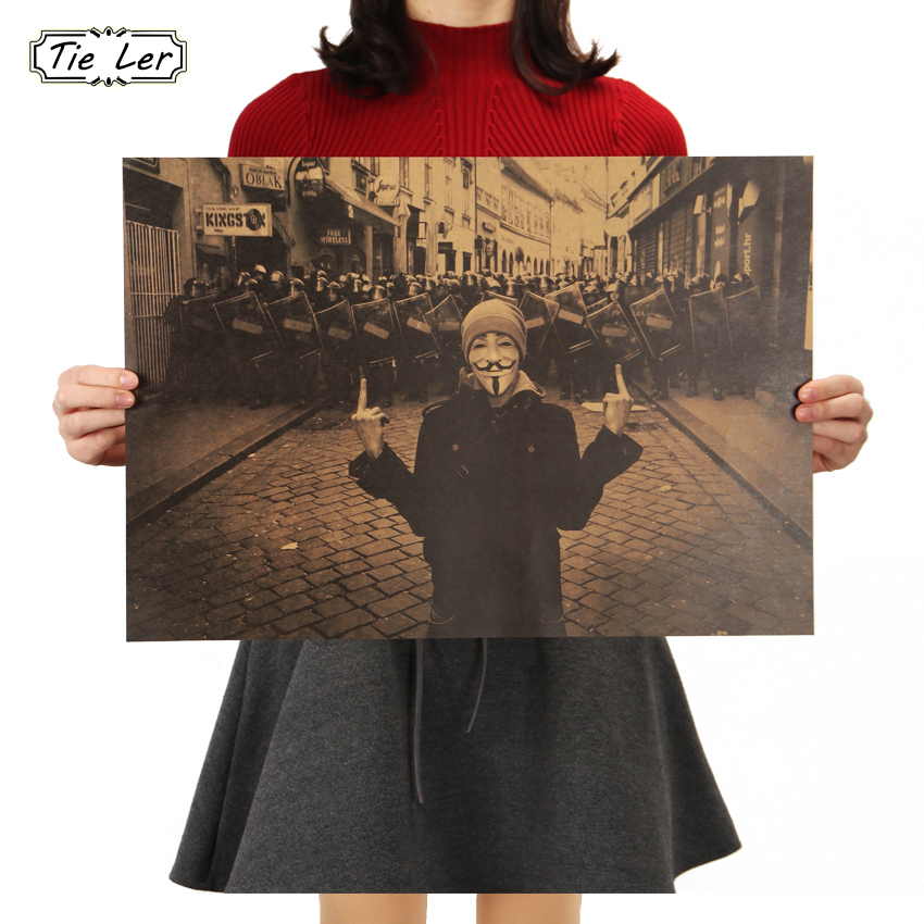 TIE LER Vintage Poster Geeky Guy Plot Adornment Movie Posters 51x35.5CM Kraft Paper Home Decor Wall Sticker