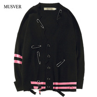 MUSVER Ripped Striped Sweaters Men 2017 Autumn Broken Holes Knitted Sweaters Coats Hip Hop Casual Male