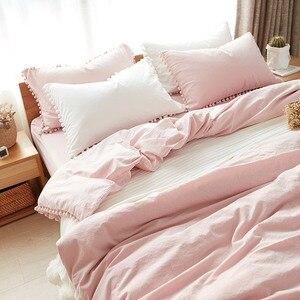Image 5 - LOVINSUNSHINE sevimli pembe prenses yatak takımları yıkanmış top kumaş kraliçe kral yorgan kapak yastık kılıfı rahat cc44 #