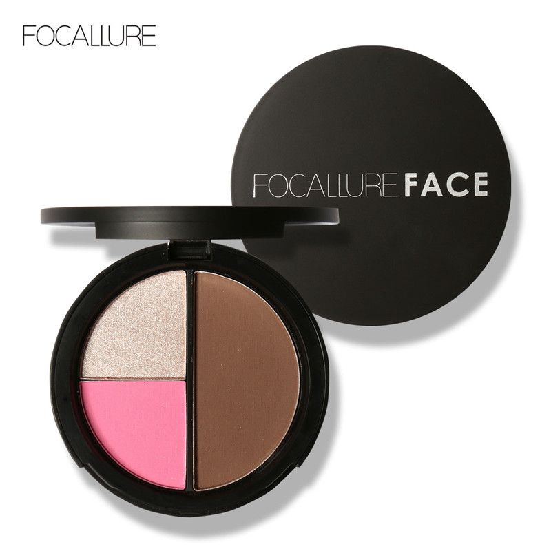 FOCALLURE 3 Colors Highlighter Palette hot saleEasy to Wear Face Contour Kit Shimmer Highlight Powder Cosmetics