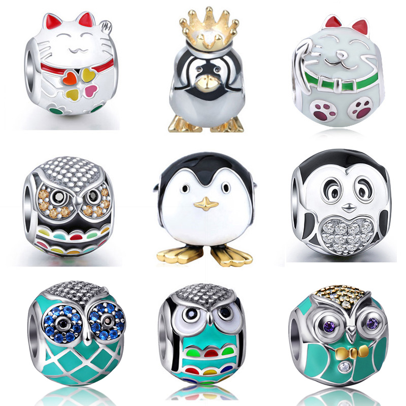 Fit Pandora Bracelets 925 Sterling Silver Original High quality owl cat penguin Charms Beads fashion Jewelry For Mother's Gifts