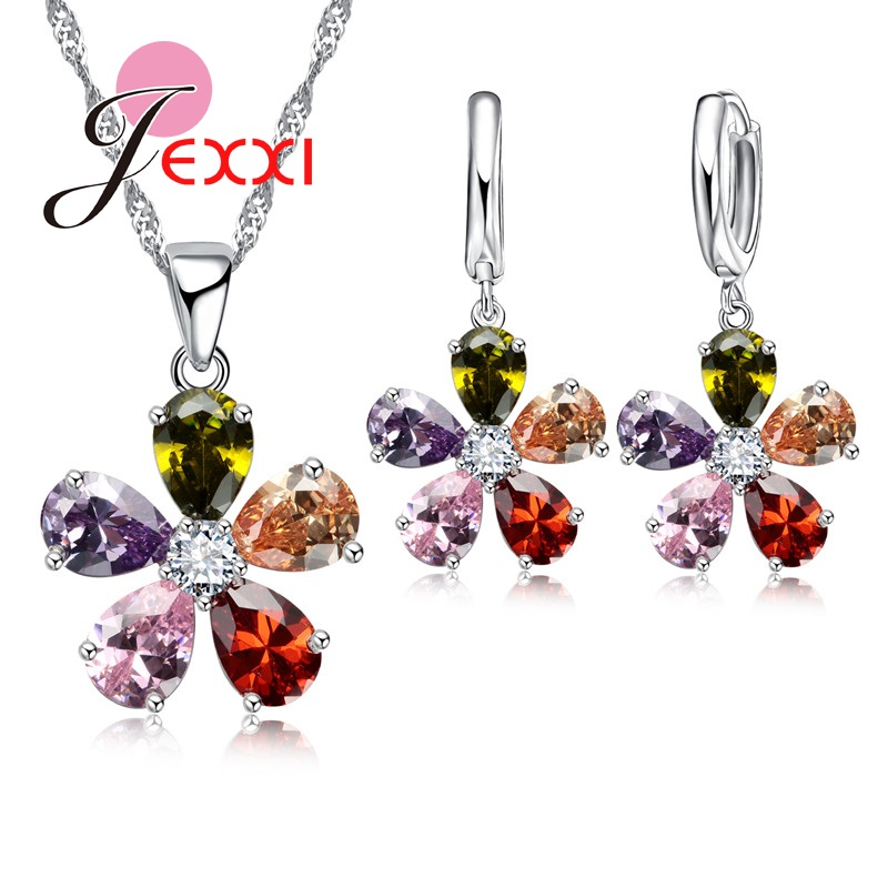 Klasik Bunga Bentuk Pendant Kalung Anting Set Colorful Austria Kristal Wanita 925 Sterling Silver Jewerly Set